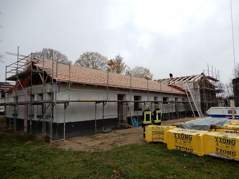 Der Rohbau des neuen Feuerwehrgerätehauses in Wasdow